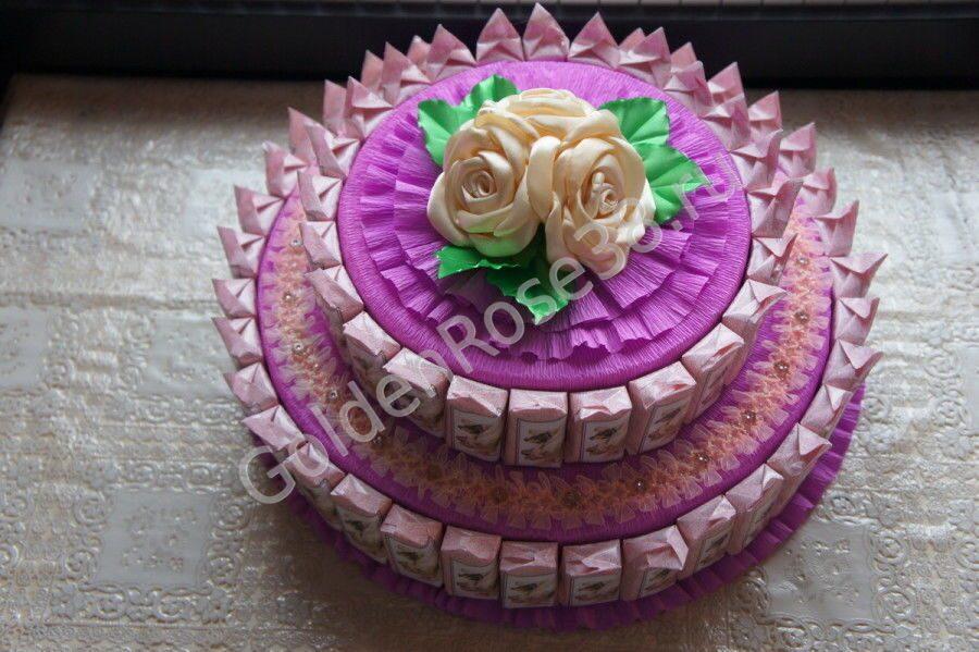 Торт из конфет пошагово своими руками 100